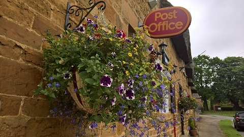 Hanging baskets Great Brington Post Office